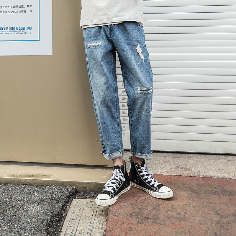LMTNZD秋季破洞牛仔裤男士做旧直脚宽松韩版修身潮流浅色乞丐长裤