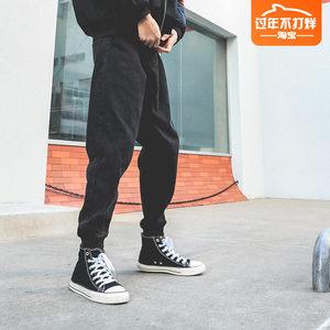 lmtnzd黑色牛仔裤子男士修身小脚裤