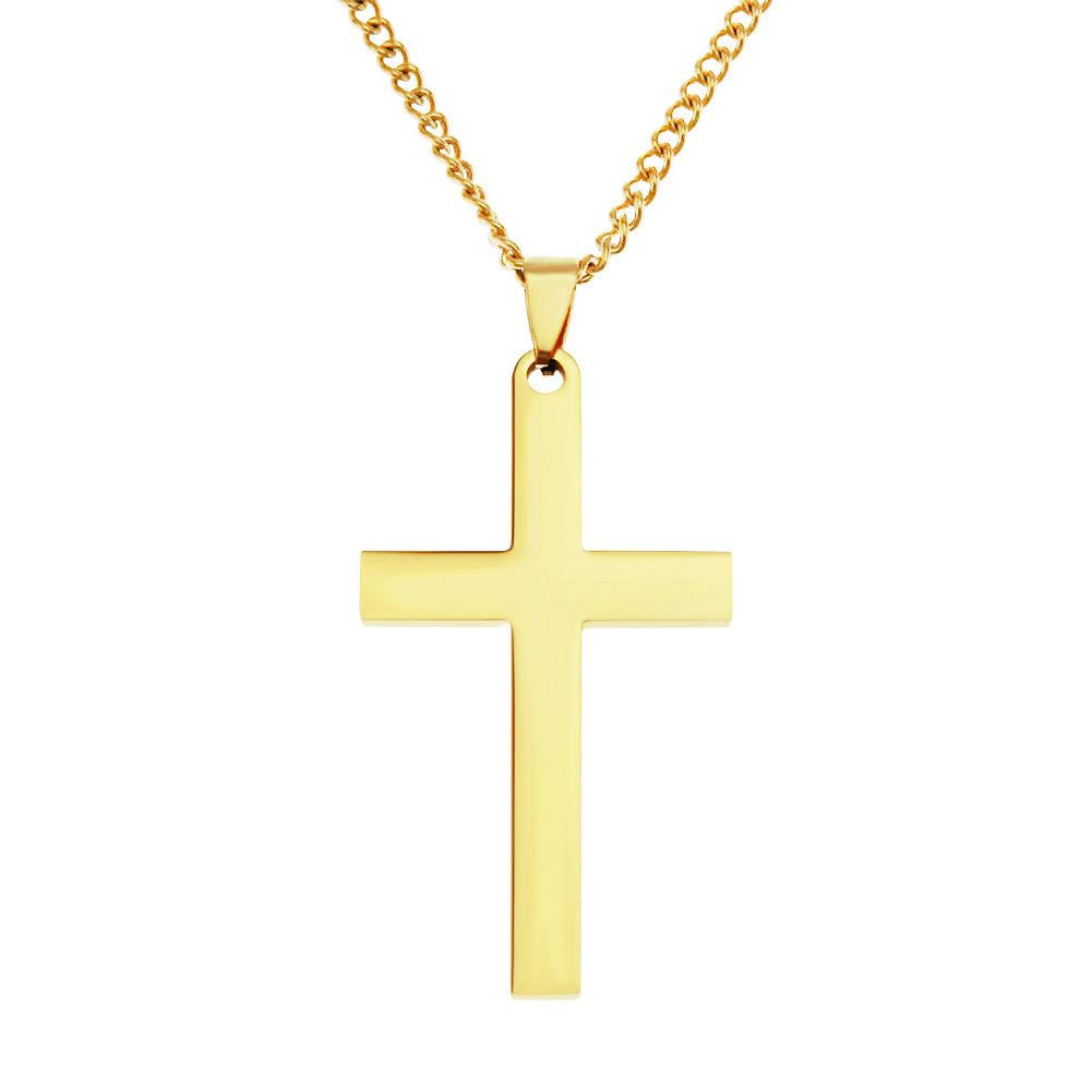 欧美嘻哈光面不锈钢十字架吊坠项链 时尚朋克冷淡风轻奢配饰挂件