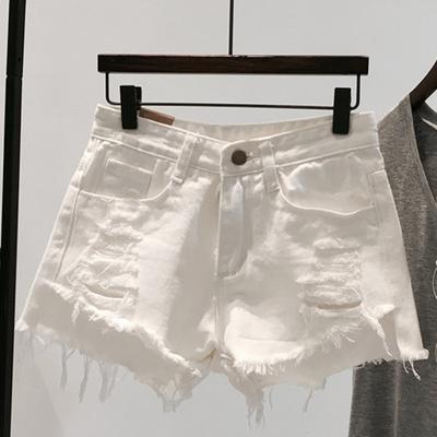 白色牛仔短裤女夏季2020新款韩版显瘦破洞a字阔腿薄款高腰ins热裤