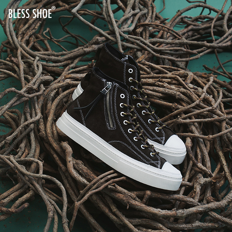 BLESS SHOE MILITARY suede 军事风 咖啡色麂皮 高帮手工休闲鞋