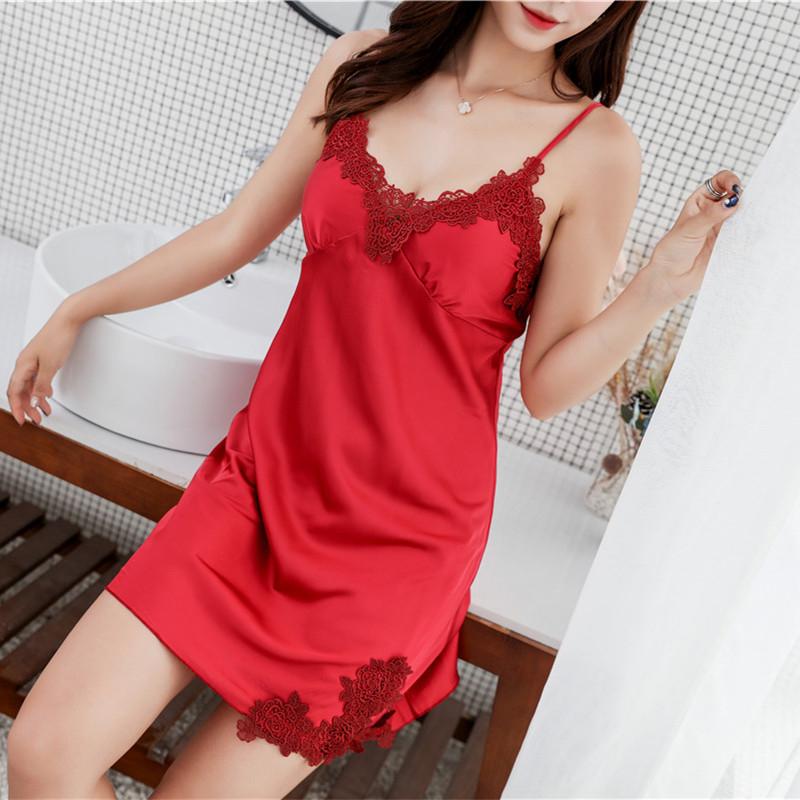 Summer new sexy nightdress with bra lace womens suspender simulation silk chiffon Satin Pajamas