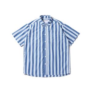 SINRCREW潮牌夏季新款轻复古海洋蓝白条纹短袖衬衫男潮流宽松衬衣