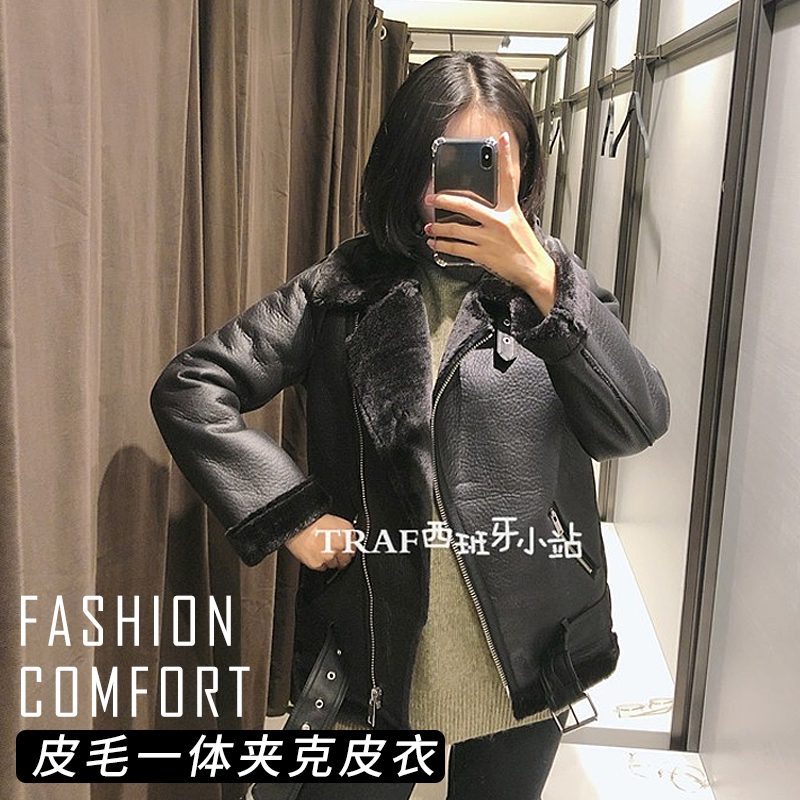 New autumn / winter 2019 stitching motorcycle clothing fur integrated jacket leather jacket womens coat top slim trend