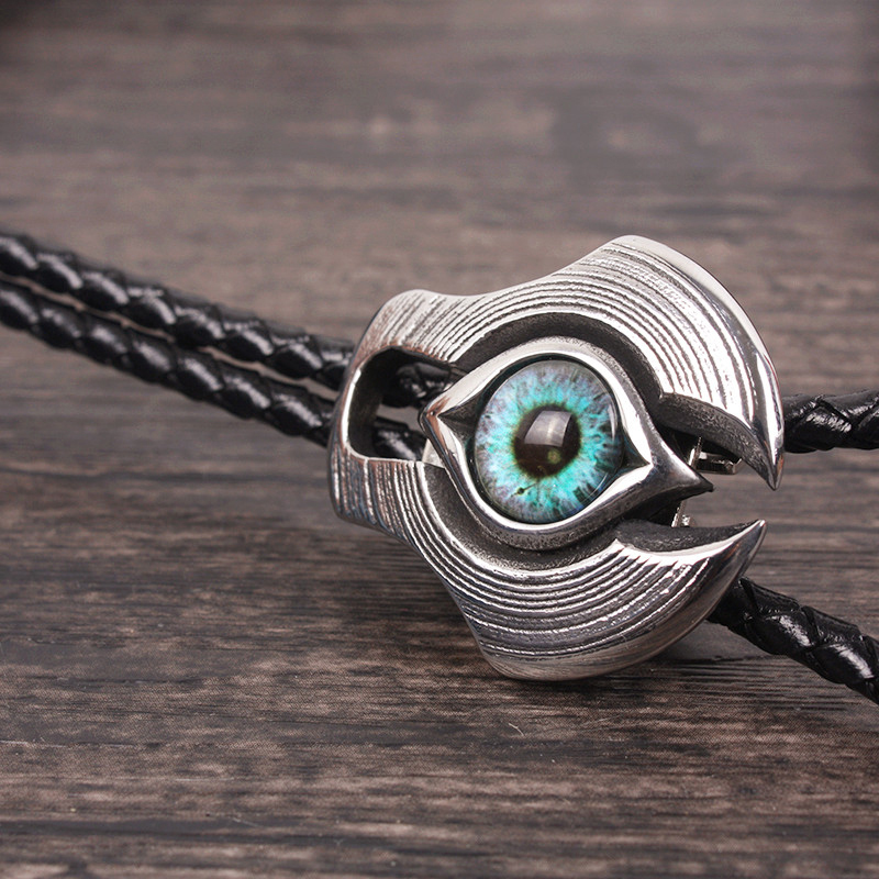 Bolo Tie mens and womens Japanese cowhide collar rope steam cyberpunk titanium steel devils eye pupil