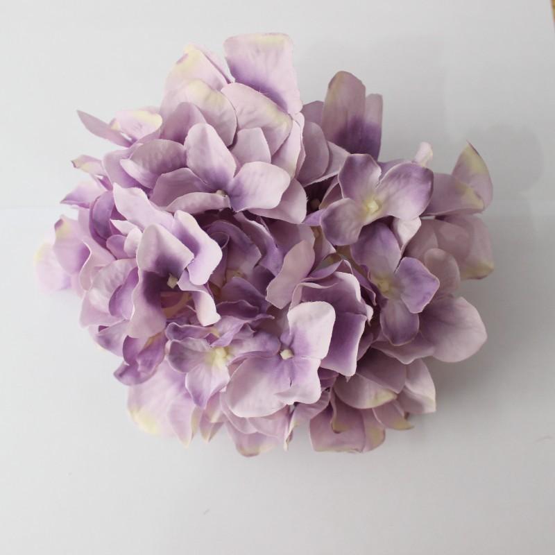 12色の毛織のあじさいの花の頭の単一の絹花の偽花のシミュレーションの花DIY花飾りの花の材料の結婚式の背景の壁の花の壁