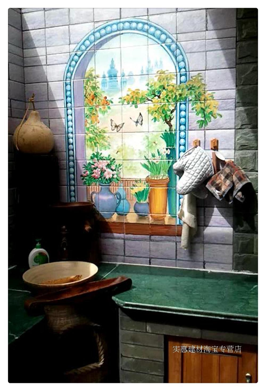 Original design pure hand-painted plant fruit pattern ceramic tile pastoral style ceramic painting mosaic brick wall brick