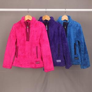 秋冬款童装 女童多色珊瑚绒长袖T恤卫衣套头衫绒衫 欧美外贸单