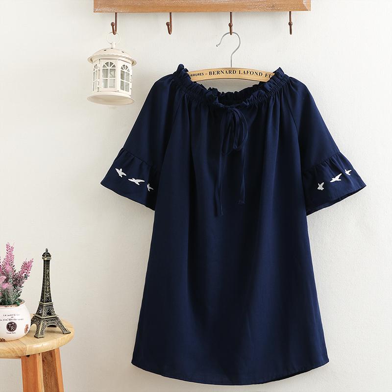 胖妹妹夏装大码时尚短袖T恤女韩版一字肩200斤减龄显瘦遮肚雪纺衫图片