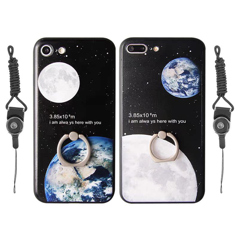 情侶手機殼6s plus  蘋果iPhone7 潮男女款帶掛繩指環支架