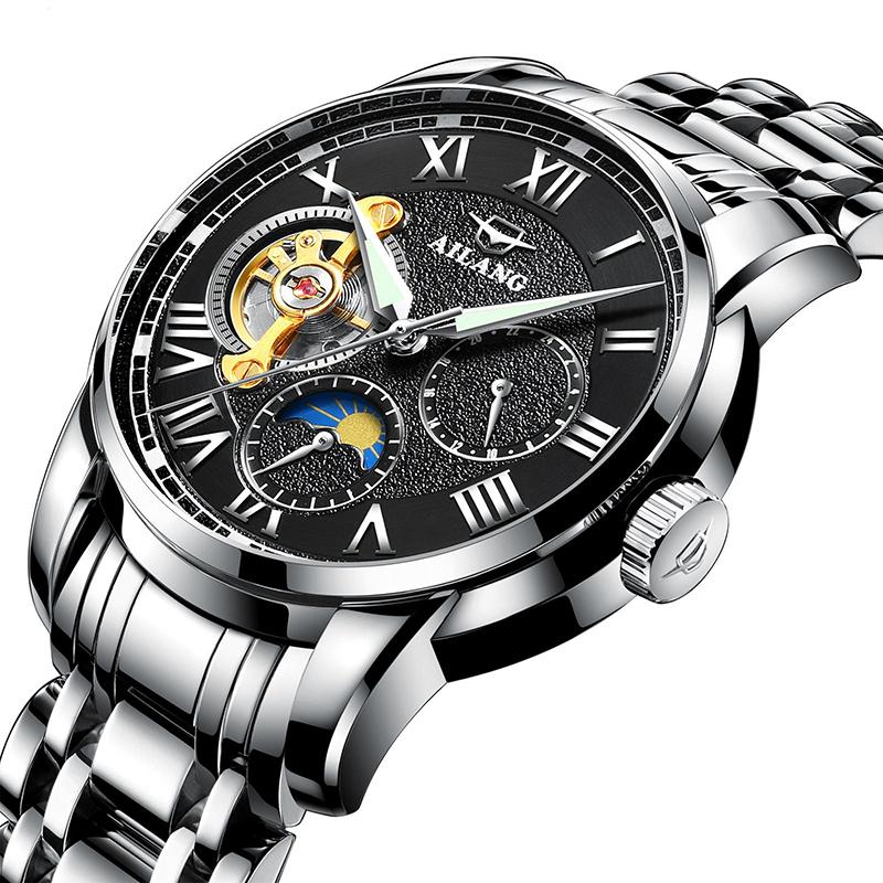 艾浪(AILANG)陀飞轮时尚潮流全自动机械表男士手表商务夜光8602