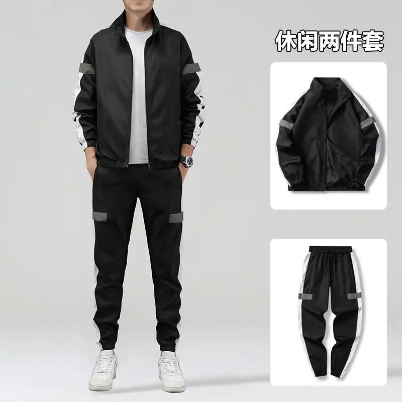 Pudding trade 2021 fashion sports suit mens youth leisure Long Sleeve Jacket oversized two piece mens suit