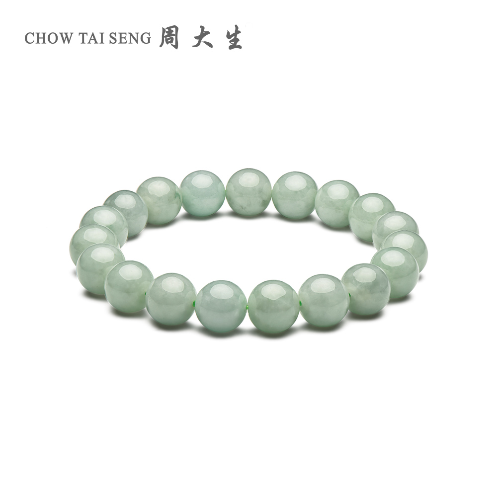 Zhou Taisheng Natural Genuine Jade Bracelet Waxy Kind of Light Green Delicate Real Jade Bracelet Female New Product Jade Jade Bracelet
