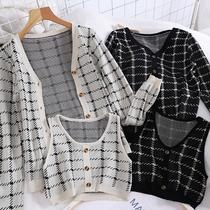 0912秋冬chic韩版新款小香风撞色格子长袖开衫针织衫外套短款背心
