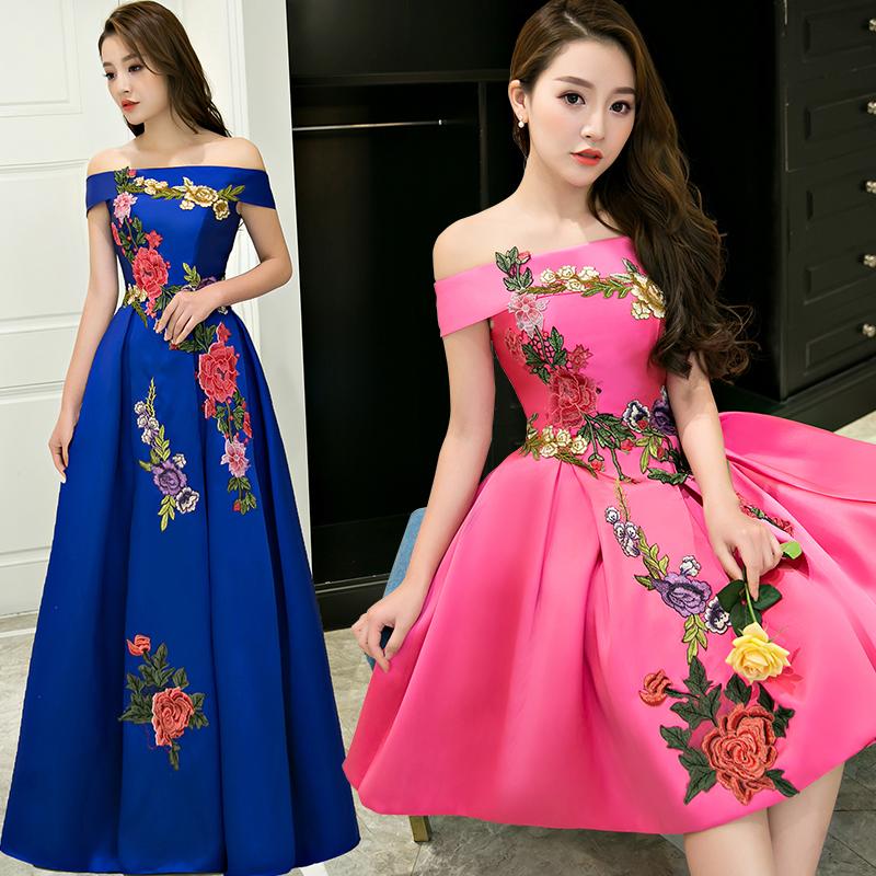 宴会晚礼服2018新款时尚修身韩式年会主持人长款显瘦一字肩晚装女