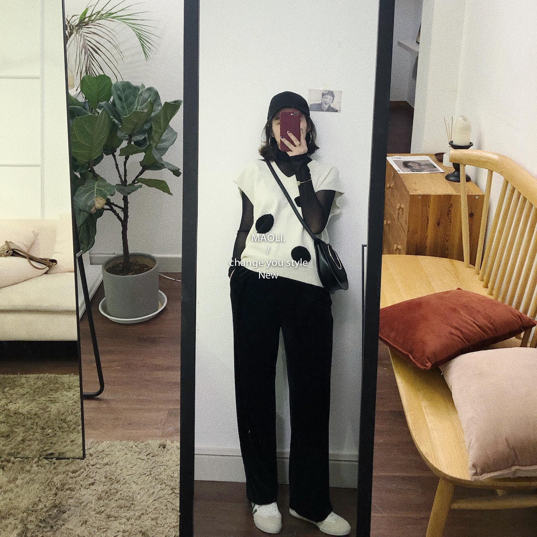 毛丽小四郎 经典百搭 韩版休闲慵懒 显瘦显腿长丝绒裤女新 2色