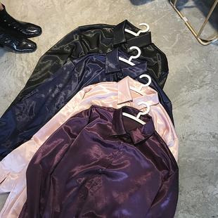 早春新款韓版寬鬆大碼BF男友中長睡衣式舒適絲綢光澤感緞面襯衫女