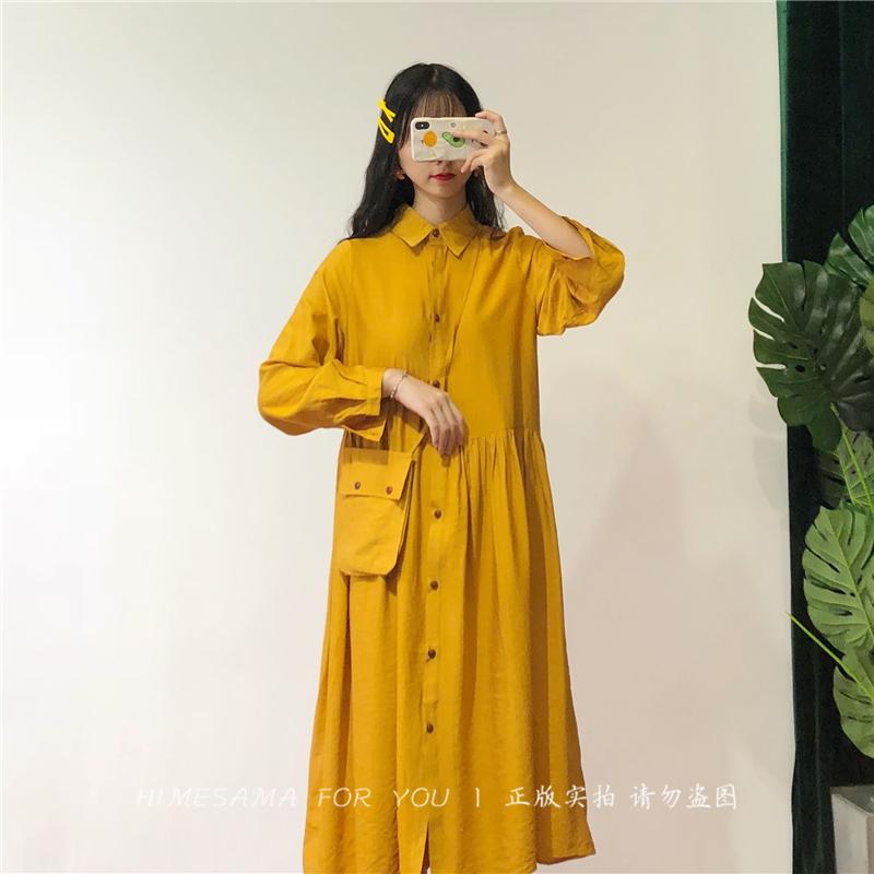 Himesama 枇杷裙。自制 日系清新娃娃款衬衫领不规则宽松连衣裙女热销2件不包邮