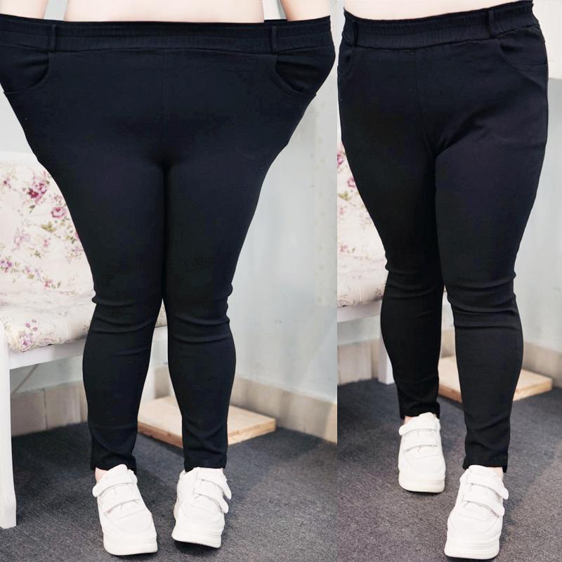 2018春装特大码女装230斤修身显瘦高腰高弹黑色弹力小脚裤休闲裤