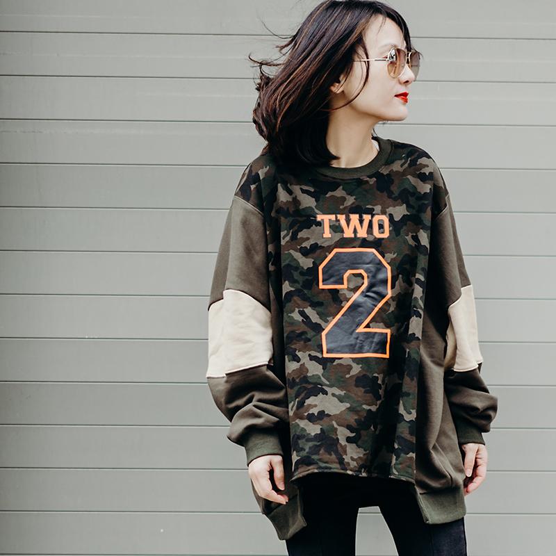 米可可 T6199 文艺大码字母数字拼接迷彩撞色蝙蝠袖T恤女 18秋
