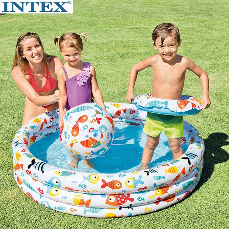 11月23日最新优惠原装正品INTEX水族馆戏水池充气家庭游泳池儿童海洋球池沙池59469