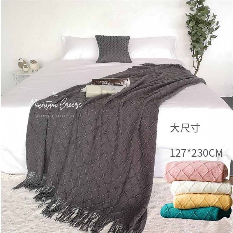 灰色床搭巾北欧美式轻奢沙发搭毯粉色绿色民宿样板房床围巾床尾毯
