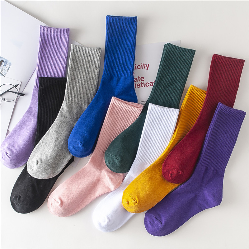 11-04新券长袜子女韩国纯色高筒运动袜学院风男街头潮流全棉韩版情侣滑板袜