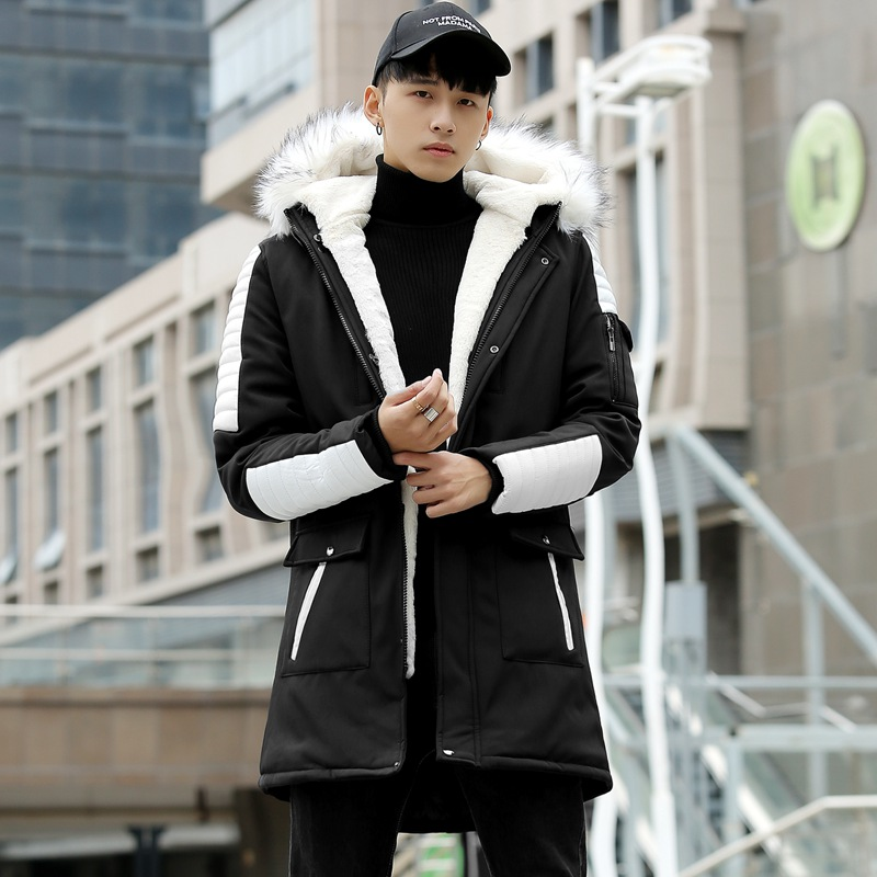 Cool down cotton jacket winter mens hooded cotton padded jacket fashionable plush Japanese Korean jacket slim jacket warm jacket jacket