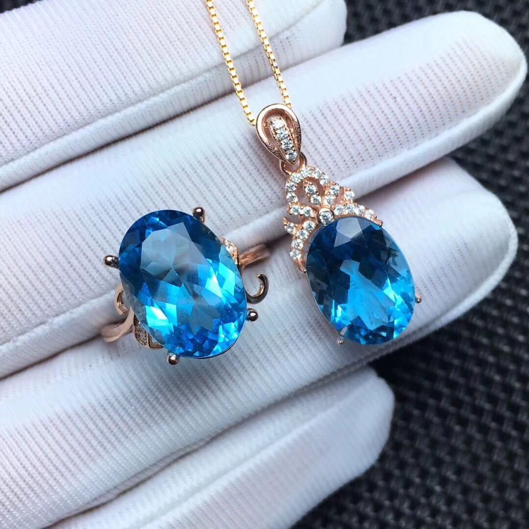 Natural Topaz set Topaz Ring Pendant Gift Necklace double 11