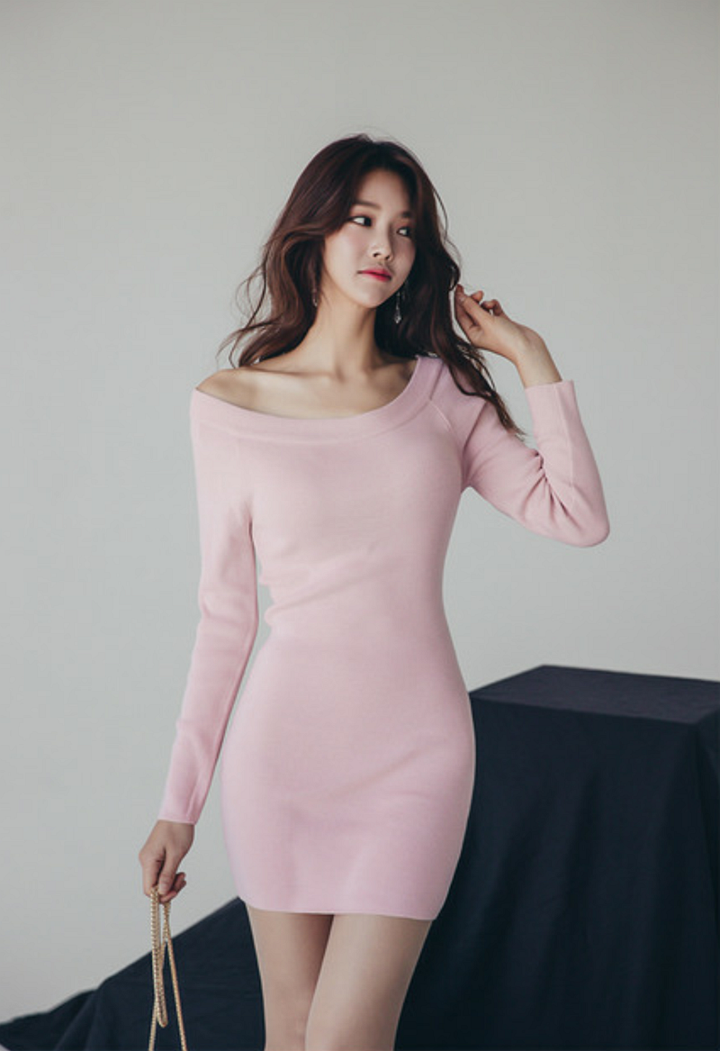 Sweater knitted dress pink medium length slim fit Pullover round neck base coat custom plus size