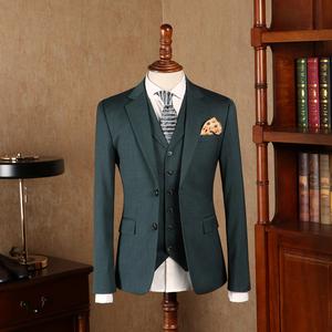 IsirHonour独家定制墨绿色韩版复古修身男装西装英伦绅士纯色西服