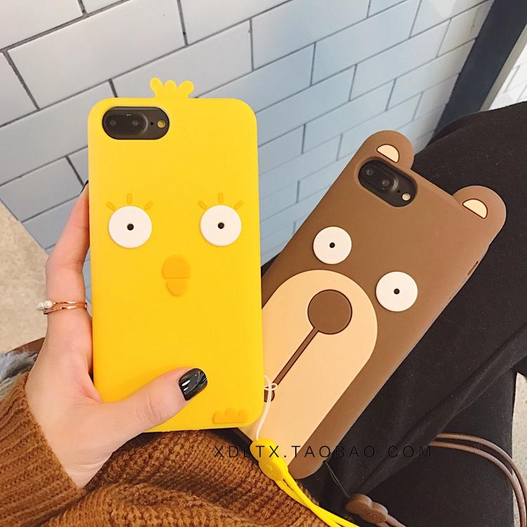 可爱黄色小鸡小熊iphone7/8plus手机壳苹果X/XsMax/R硅胶套挂绳11