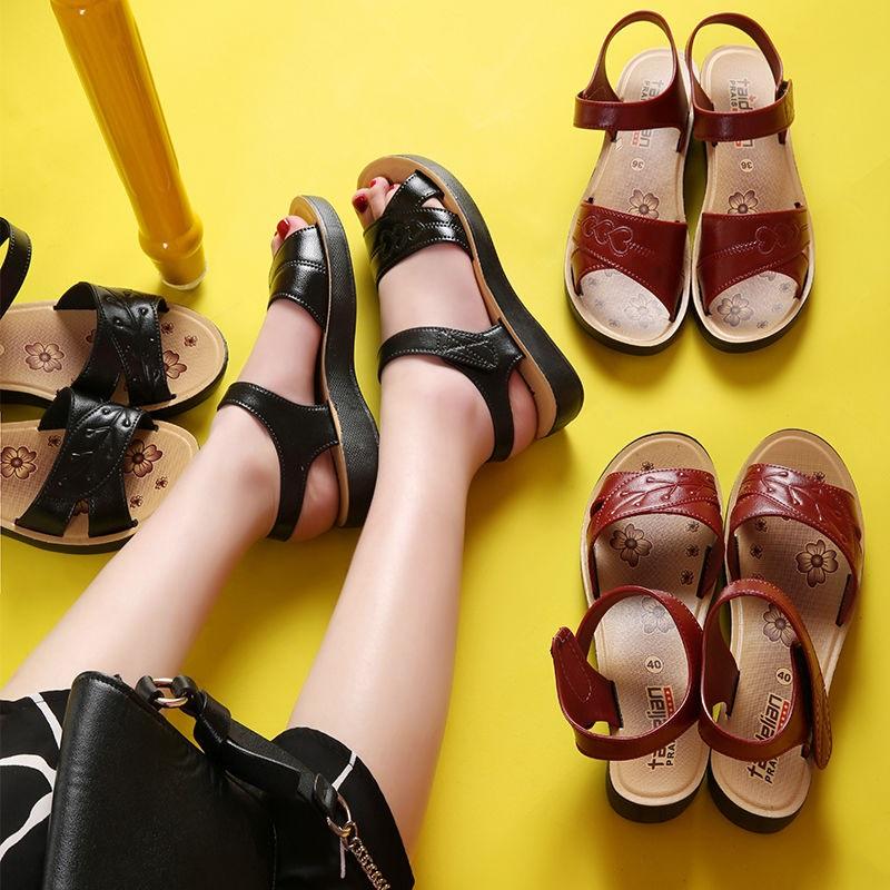 凉鞋女2020夏季新款妈妈凉鞋沙滩鞋防水台软底简约百搭平底女鞋潮