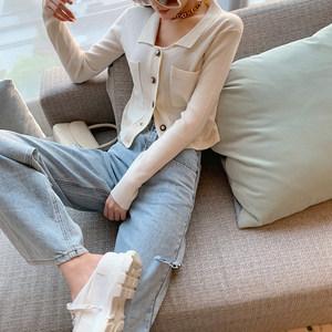 水冰月 2020新款宽松显瘦泫雅阔腿裤破洞牛仔裤女高腰直筒长裤子