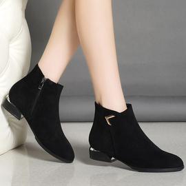足意尔康2020新款棉鞋真皮磨砂中跟小短靴女秋冬粗跟平底马丁靴子
