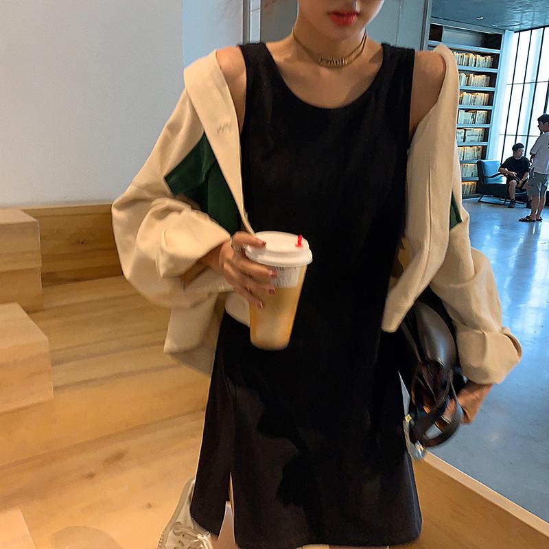 秋季新款2019纯色吊带背心裙中长款内搭外穿打底无袖宽松连衣裙女