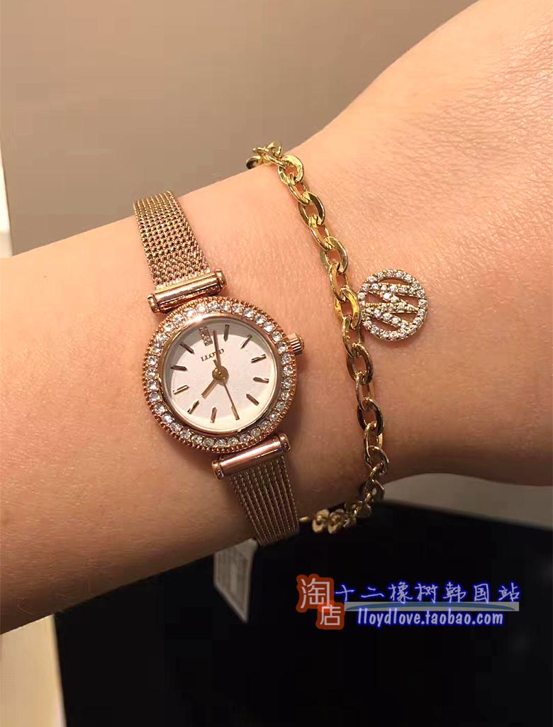 韩国lloyd手表正品女表玫瑰金真皮表带时尚精致小盘19mm生活防水
