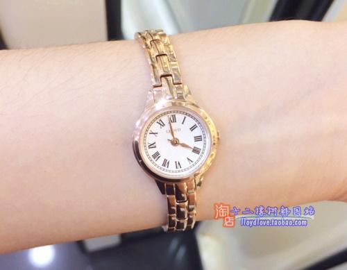 韩国新款时尚潮流lloyd专柜女表简洁钢链玫瑰金银罗马21mm盘防水