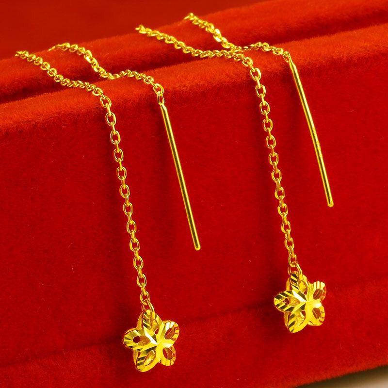 正品黄金耳线24K纯金镂空耳环简约气质花朵耳饰999足金星星耳坠女
