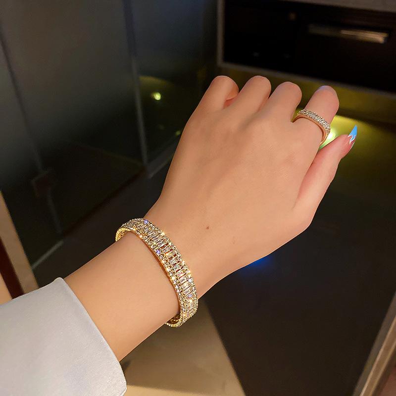 Diamond set zircon open Bracelet Korean design simple geometry Fashion Bracelet net red art style personalized handpieces