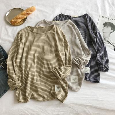 秋新品条纹长袖T恤打底衫百搭基础款A222A-DT69-特P35 控价49