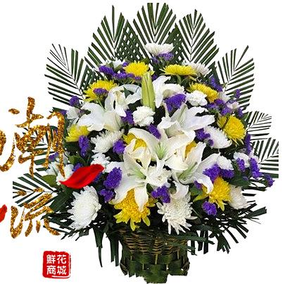 漯河鲜花店速递同城送花上门清明节菊花花篮白事葬礼追悼扫墓