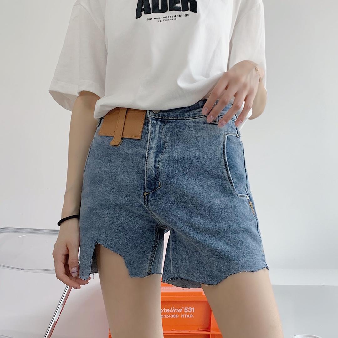 Genuine] ader error denim shorts wash blue high waist show thin irregular cut womens hot pants versatile