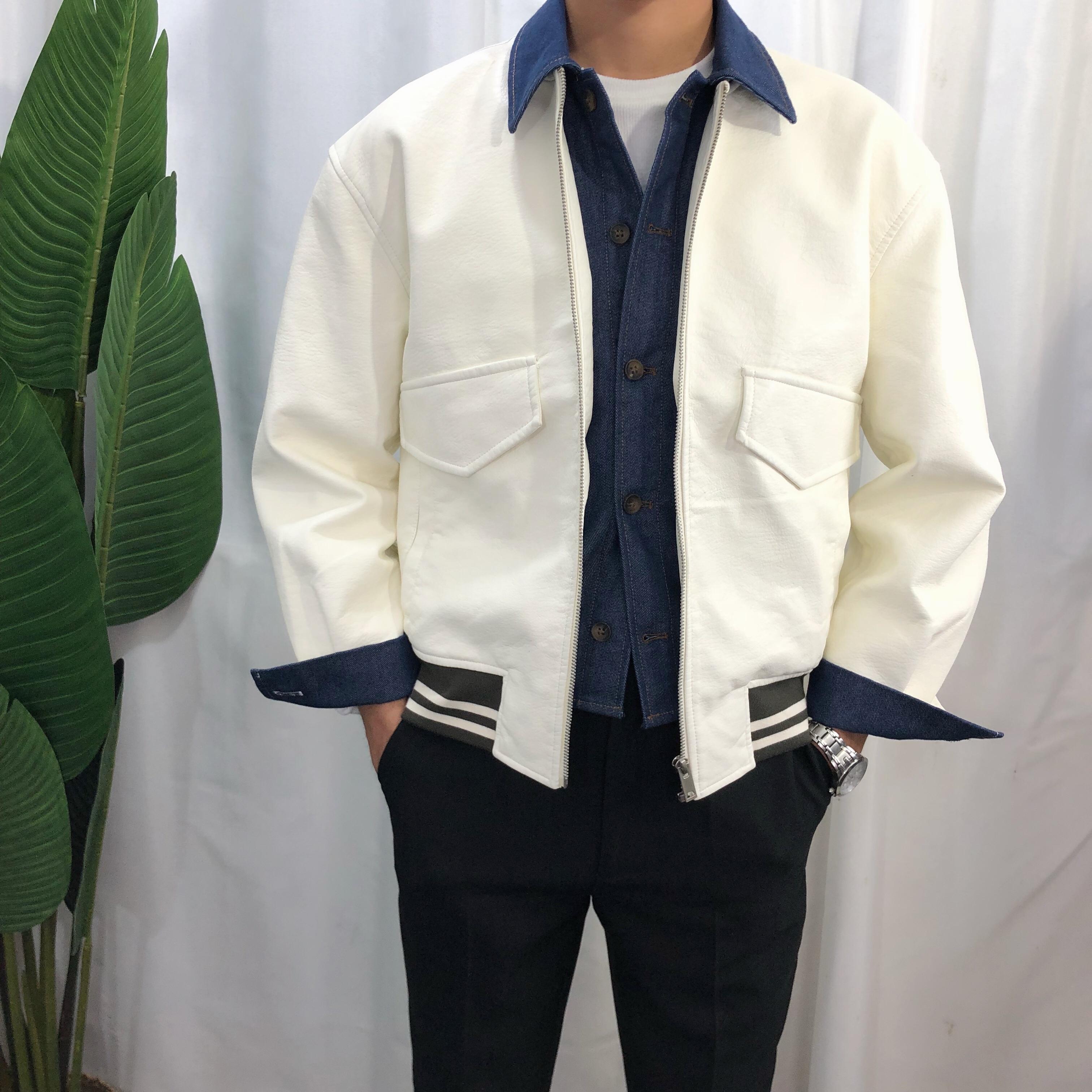 Autumn and winter 2020 new fake two piece jacket mens Korean retro denim splicing Lapel slim leather coat fashion