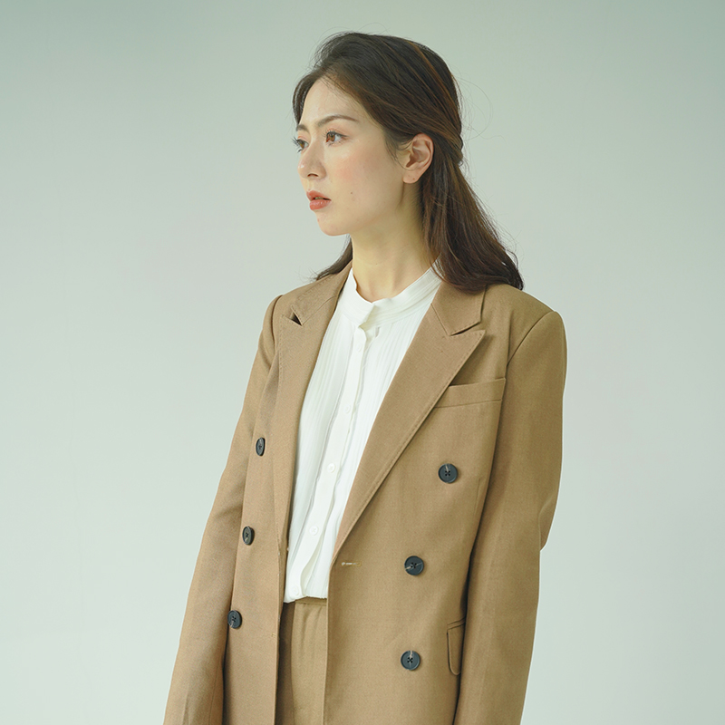 Neyiri Khaki double breasted warm and slim temperament business suit business suit interview work suit