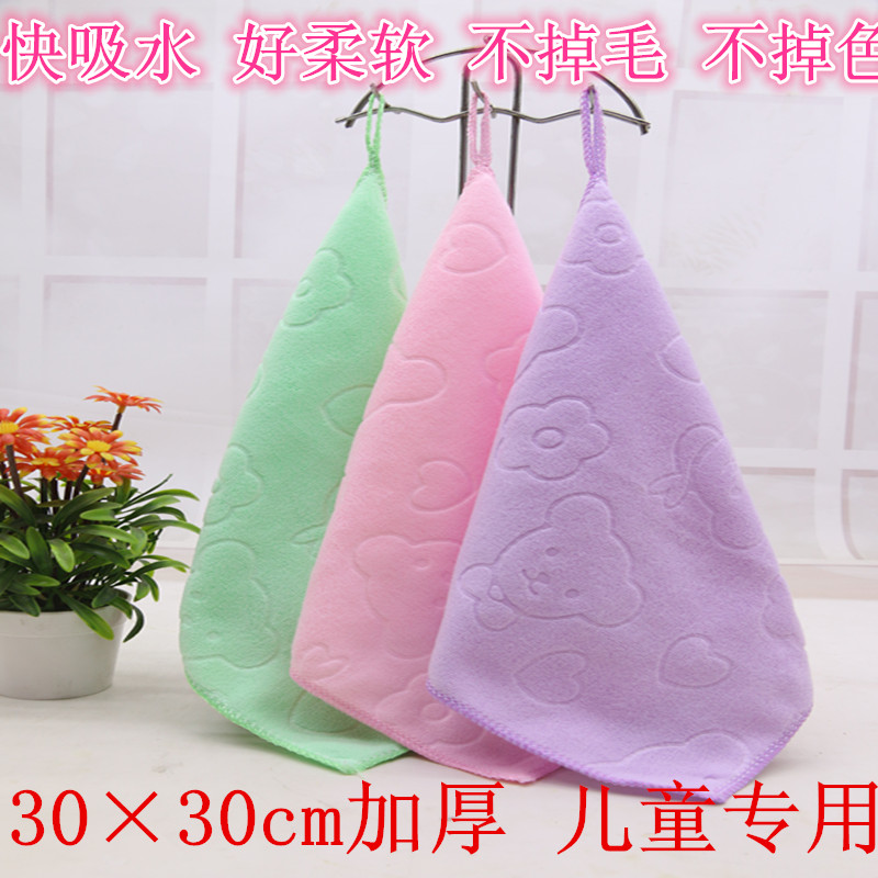 Thickened kindergarten small towel embossed childrens hand towel absorbent non pure cotton Gift Wedding Handkerchief dishcloth batch