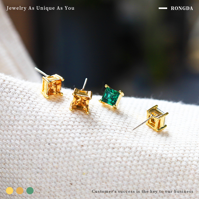 Grapefruit Qingdao foreign trade Europe and America retro square Diamond Earrings Blue Amber gem two pairs of two color suit