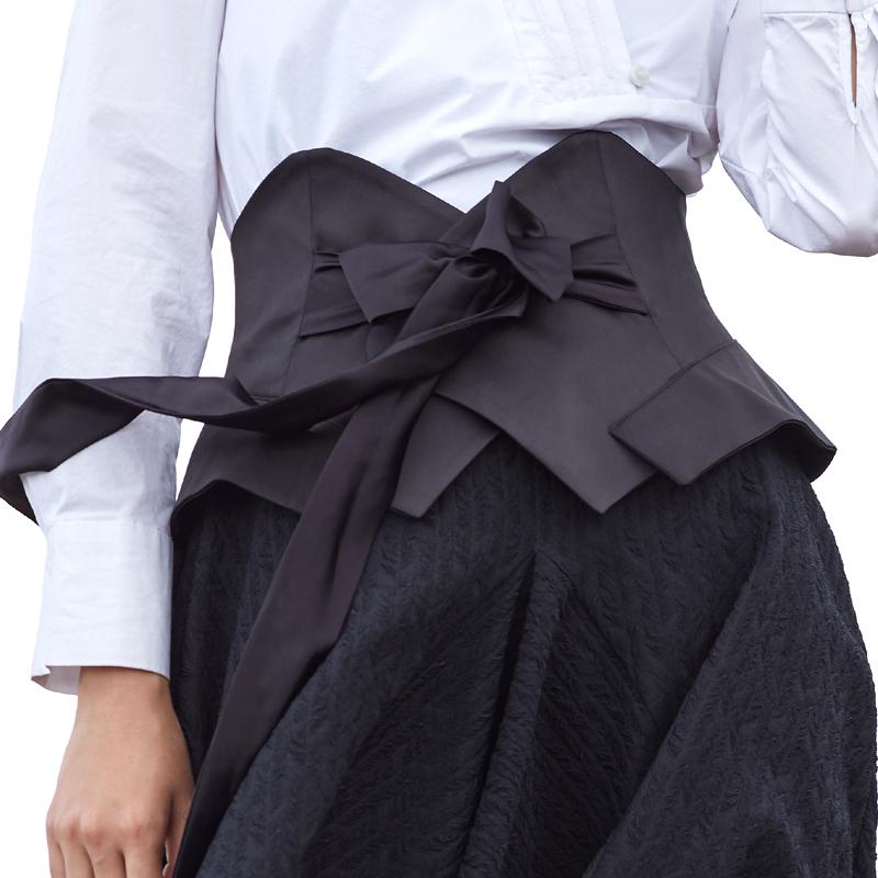 欧美时尚简约腰封绑带黑色系带布料腰带女士束腰加宽装饰配连衣裙热销28件限时2件3折