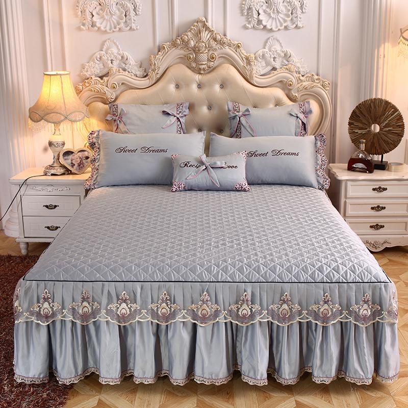 热销185件不包邮天丝莫代尔蕾丝床裙床罩单件床盖席梦丝保护套防滑防尘罩1.51.8米