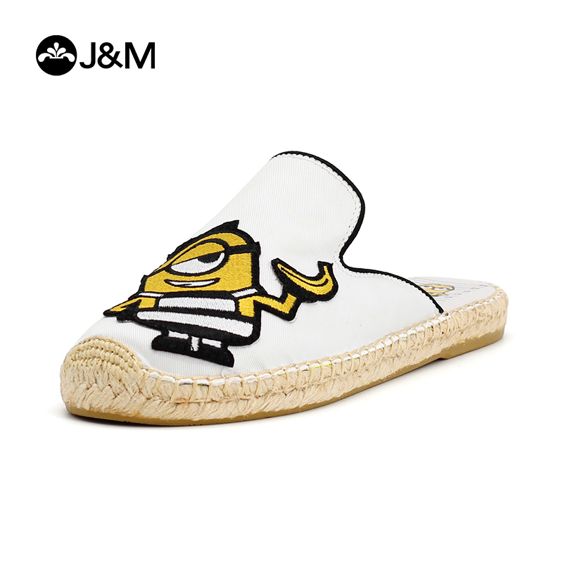 JM happy Mary sandals goddess steals milk dad, little yellow people take all kinds of casual straw woven Muller shoes, women's sandals